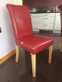 6 Red leather chairs