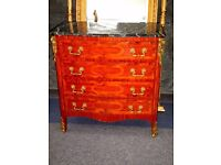 LOUIS XV1 FRENCH EMPIRE SPECTACULAR MARBLE TOP MARQUETRY KINGWOOD ORMOLU CHEST OF DRAWERS..MINT CON