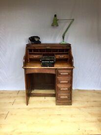 Vintage oak Art Deco roll top 1920s 1930s antique desk