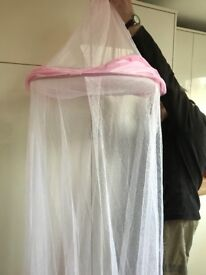 Pink princess bed net canopy