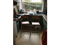 2 wooden ikea breakfast bar stools