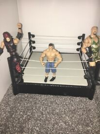 WWE ring and 11 figures