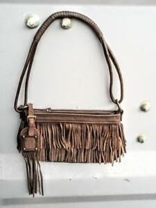 New Nine West Fringy Real Leather Purse Small brown Fringes Womens Handbag Bag Great gift for Wife Girlfriend Lady Woman