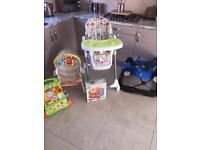 Baby walker,seat/swing, recliner high chair, walkie pen, ball pit