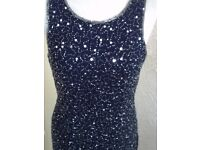 beautiful navy beaded and sequined length evening dress size 12
