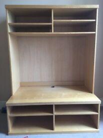 Beech effect TV Unit with shelves
