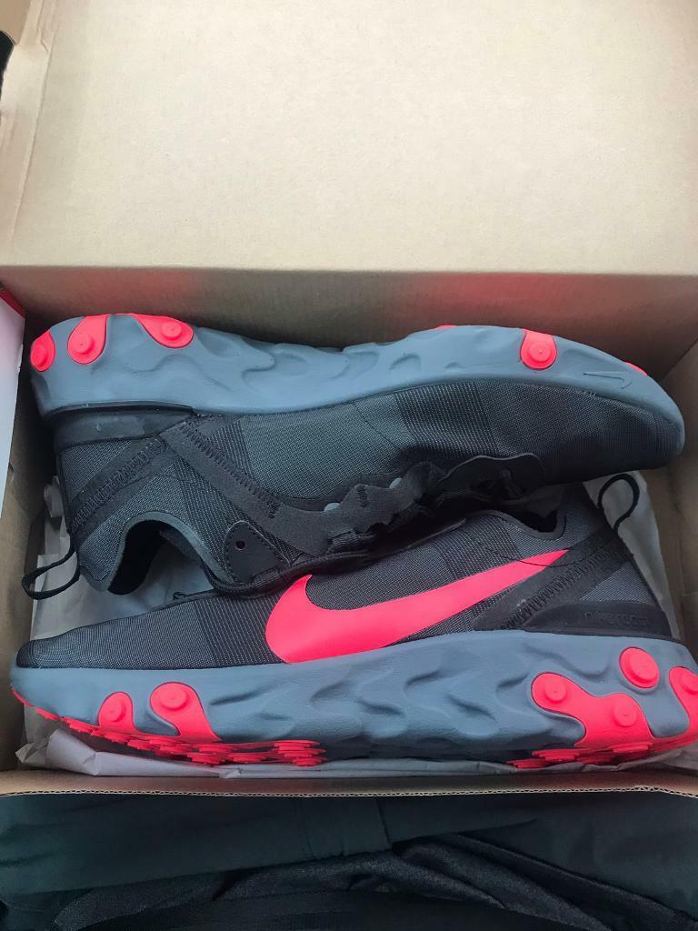 43e9434cefa1 Nike React Element 55 Black Solar Red - Cool Grey UK 8 US 9 Brand New 100%  Genuine