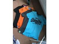 4 men's Superdry polos and T-shirt