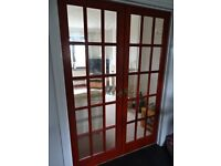 For sale are a pair of Internal Wooden French Doors with Bevelled Glass Handles and Hinges included.