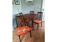 Vintage Table and 4 G Plan Chairs Upholstered In Harlequin Scion Lohko Fabric Can Deliver