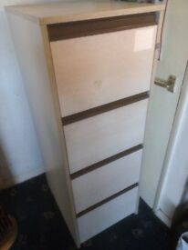 "4 drawer filing cabinet complete with hanging files. size 52"" x 24"" x 19"" (132cm x 60cm x 48cm)"