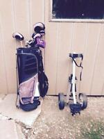 Ladies' left handed golf clubs, cart w-stand, cart as new