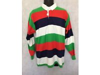 "Mens Stripe Long Sleeve Rugby Polo Shirt Top Size 42"" Chest #W602"