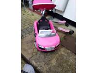 Pink audi push along car
