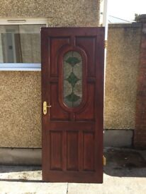 Solid wood Mahogany Front Door with Stainglass