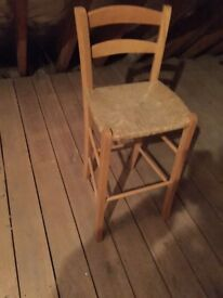 Vintage bar stool, rush seat, dates from 1960s