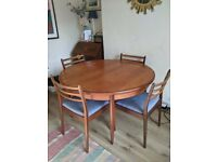 Mid-Century G Plan Circular Extending Dining Table & 4 Chairs