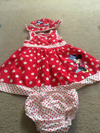 Minnie mouse dress with matching knickers and hat.
