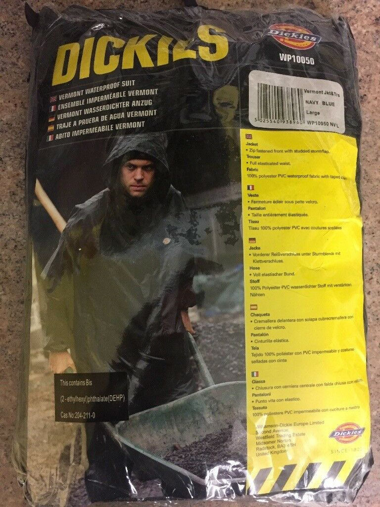 Brand New, Dickies Waterproof Suit, Navy Blue,Large, Outdoor work wear !NO OFFERS! (diy,building)