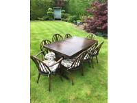 Ercol extending dining table & 8 chairs