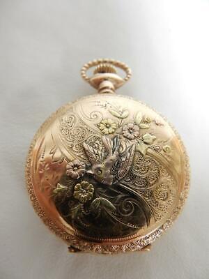 1901 VINTAGE SOLID 10 KT GOLD, ELGIN BLUE FACE POCKET WATCH, , 0s, 7J #PW19