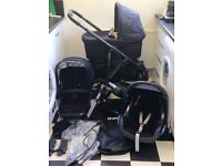 UPPABABY VISTA 2013/14 MODEL BLACK / BLACK CHASSIS CARRYCOT AND MAXI COSI CAR SEAT