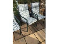 3 steel garden chairs with Cushions