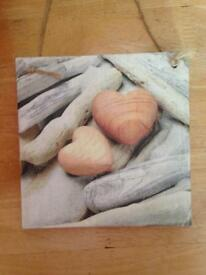 Handmade Double Sided Wooden Shabby Chic Hearts Picture Plaque