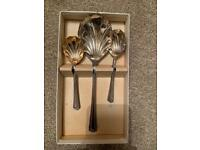 Vintage shell silver spoons in box