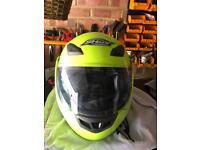 SHOX Flip-up Motorcycle Helmet in Hi Vi Florescent colour Size L