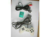 Official PS1 PlayStation white controller SCPH-1080 Sony green memory card N1158 Sony video cable