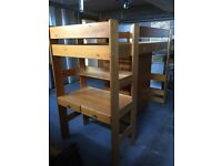 Solid wood, single cabin bed with wardrobe, desk & mattress - great condition