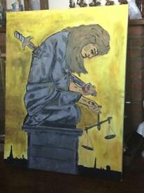 Large acrylic painting justice is dead