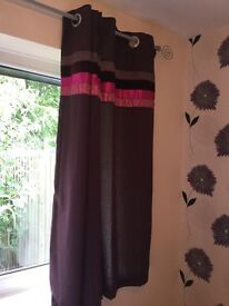 """Reduced - Pair of fully lined 54"""" bedroom curtains -pink & deep purple"""