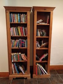 solid pine bookcases/display shelves