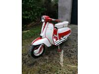 Lambretta Servetta Jet 200 with 225 conversion, big carb, expansion chamber.