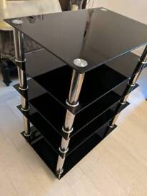 5 black glass tier tv stand