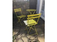 2 Seat Yellow Metal Folding Bistro Table & Chairs Set by Habitat
