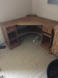 very versatile solid pine waxed desk