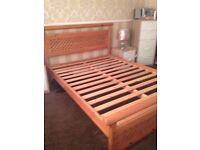 Pine double bed and memory foam top mattress