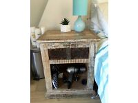 Distressed Wood Bedside Table
