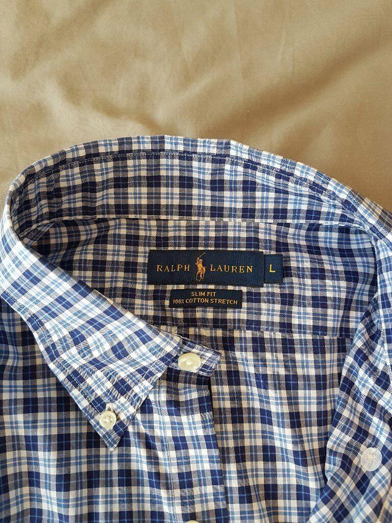 47b006f57fd9 Men's Large Ralph Lauren Blue/White/Navy Check Long-sleeved Shirt (Unworn)