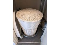 White laundry wicker basket - pickup only!