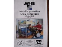 JAY-BE SOFA BUNK BED IN GLOSS BLACK.
