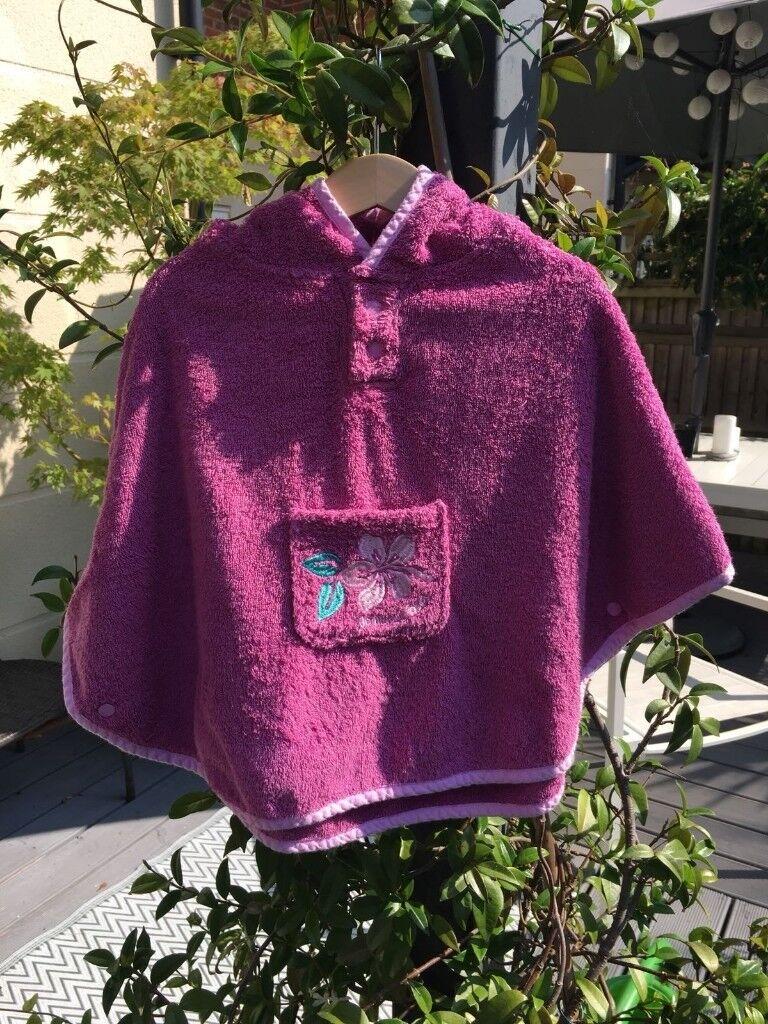 JoJo Maman Bebe Towelling Poncho – pink: Girls age 0-2 years