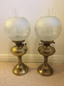 2 Vintage Antique Brass Paraffin Lamps - matching pair - Victorian style
