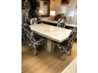 Cream marble dining table and chairs