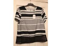 Oasis Lace Hem Stripe Top T-Shirt Tee
