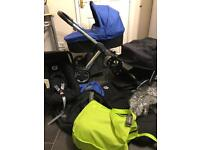 oyster travel system pram pushchair 3in1 black blue stroller buggy car seat