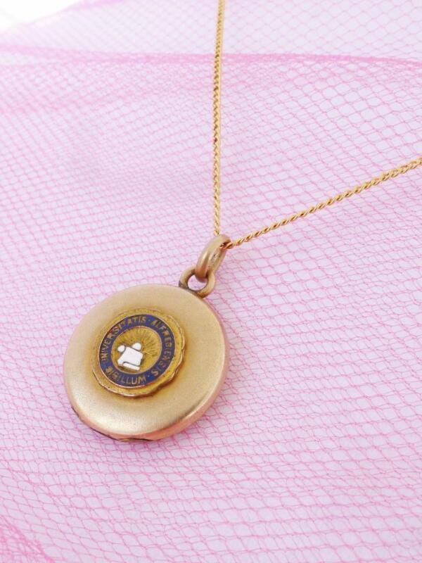 ANTIQUE Vintage ALFRED UNIVERSITY Locket Necklace Gold Filled GF Seal New York